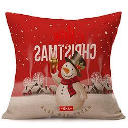 iLUGU Christmas Cartoon Printinging Pillow Case Linen Linen