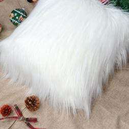 Christmas Plush Pillow Cover White Faux Fur Body Pillow Cove