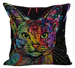 colorful cat throw pillow cover