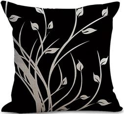 ChezMax Cotton Linen Cushion Black Pattern Square Decor Pill