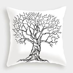 iPrint Cotton Linen Throw Pillow Cushion Cover,Tree of Life,