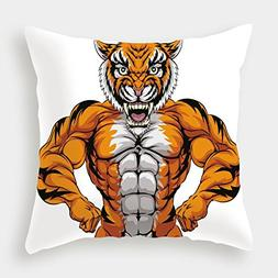 iPrint Cotton Linen Throw Pillow Cushion Cover,Animal,Wildli