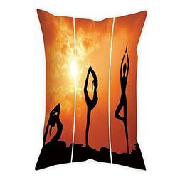 iPrint Cotton Linen Throw Pillow Cushion Cover,Yoga,Collecti