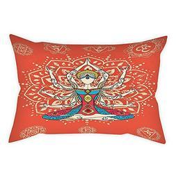 iPrint Cotton Linen Throw Pillow Cushion Cover,Yoga Decor,Yo