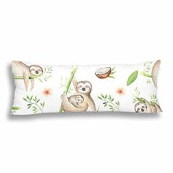 InterestPrint Custom Baby Animals Sloth Body Pillow Covers P
