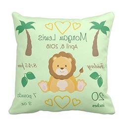Custom Baby Nursery Lion Safari Theme Birth Stats Green Thro