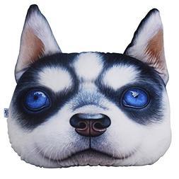 ChezMax Cute 3D Stuffed Plush Husky Head Shape Pillow Soft C
