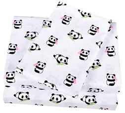 Scientific Sleep Cute Panda Cotton Cozy Twin Bed Sheet Set,