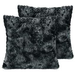 LANGRIA Set of 2 Decorative Faux Fur Cushion Covers 18x18, S