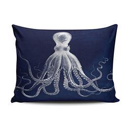 ONGING Decorative Pillowcases Navy Nautical Octopus Customiz