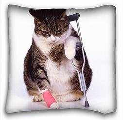 Decorative Square Throw Pillow Case Animals cat crutches s l