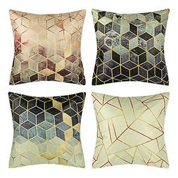 BOJIN Decorative Throw Pillow Covers 18x18 Inch Square Cotto
