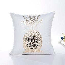 DEESEEGold Foil Printing Pillow Case Sofa Waist Throw Cushio