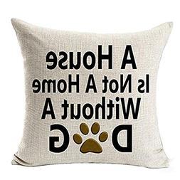 DEESEEBest Dog Lover Gifts Cotton Linen Throw Pillow Case Cu
