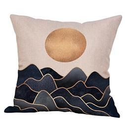 DEESEEAbstract landscapeCotton Linen Printed Throw Decorativ