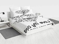 Dog Lover Decor Bedding Sheet Set I Love Dog Typography Type