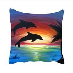 Ranhkdn Dolphin Sunset Real Pillow Cases Both Sides Ornament