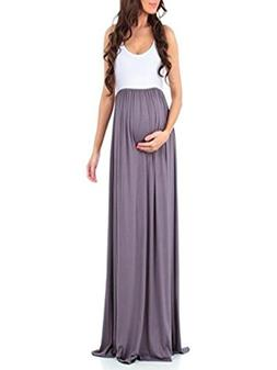 POHOK Girls Dress,Women's Sleeveless Pregnant Ruched Maxi Ma