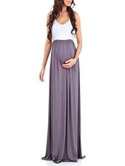 POHOK Girls Dress,Women's Sleeveless Pregnant Ruched Maxi Ma