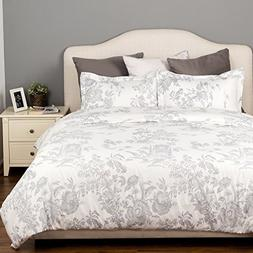 Bedsure Duvet Cover Set with Zipper Closure-Printed Grey Toi