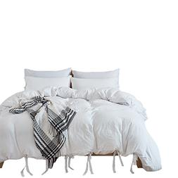 Pure Color Duvet Cover Set - Standard Size 100% Polyester Wh