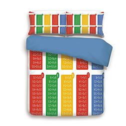 Duvet Cover Set,BLUE BACK,Educational,Colorful Classroom Mul