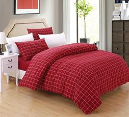 SUSYBAO Grid Bedding Set Queen Size Red Buffalo Plaid Patter