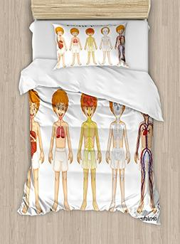 Ambesonne Educational Duvet Cover Set Twin Size, Different S