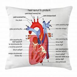 Educational Throw Pillow Case Human Body Organ Square Cushio