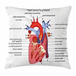 Ambesonne Educational Throw Pillow Cushion Cover, Medical St