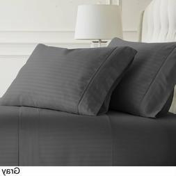 Egyptian Cotton Pillow Cover Dark Grey Stripe 1000 Thread Co