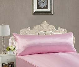 EliteHomeProducts Super Soft & Silky Satin Body Pillowcase W