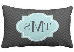 Elegant grey and teal 3 letter monogram pillow case 13 X 21i
