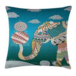 Ambesonne Elephant Throw Pillow Cushion Cover, Spirit Animal