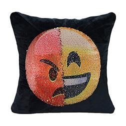 Emoji Sequin Pillow Case, Magic Presents Decorative Pillow C