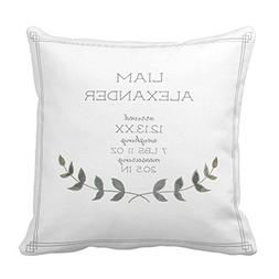 Farmhouse Modern Laurel Leaf Baby Birth Stat Throw Pillow Co