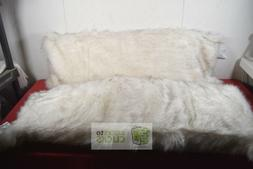 """Threshold- Faux Fur Body Pillow, 20"""" X 50"""", White with Dyed"""