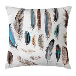 Ambesonne Feather House Decor Throw Pillow Cushion Cover, We