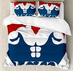 Ambesonne Fitness Duvet Cover Set King Size, Strong Muscular