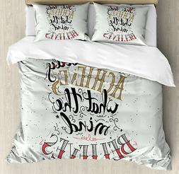 Fitness Duvet Cover Set with Pillow Shams Body and Mind Quot