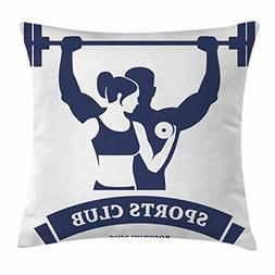 Ambesonne Fitness Throw Pillow Cushion Cover, Sports Bodybui