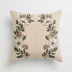Baytor Floral Laurel Pillow Cushion Cover Case 18 X 18 inche