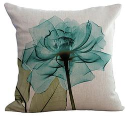 ChezMax Floral Leaves Throw Pillow Cover Sham Slipover Cotto