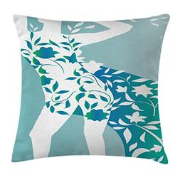 Ambesonne Floral Throw Pillow Cushion Cover, Fashion Woman G
