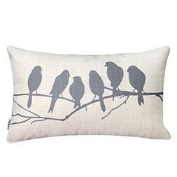LAZAMYASA Fresh Animal Style Beautiful Rustic Birds Cotton L