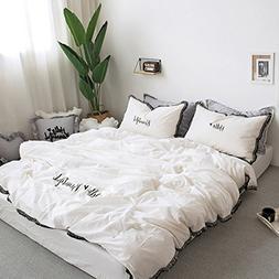 fringe bedding sets white black