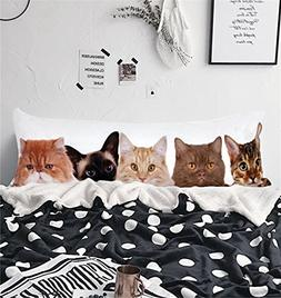 Arightex Funny Cats Body Pillow Cover Animal Kitten Animal P