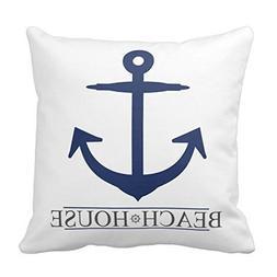 Huishe1 Generic Nautical Beach House Anchor Pillow Cover Nav