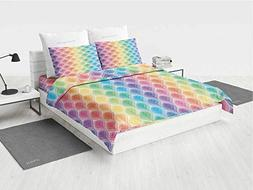 Geometric Toddler Girl Bedding Sets Rainbow Colored Ornament
