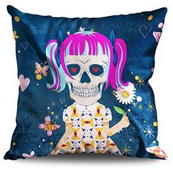 wellcoda Girl Sugar Death Skull Hipster Body Linen Cushion/P
